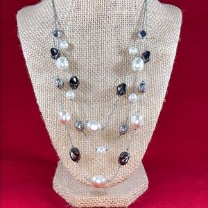 NY Silver toned with white and silver beads